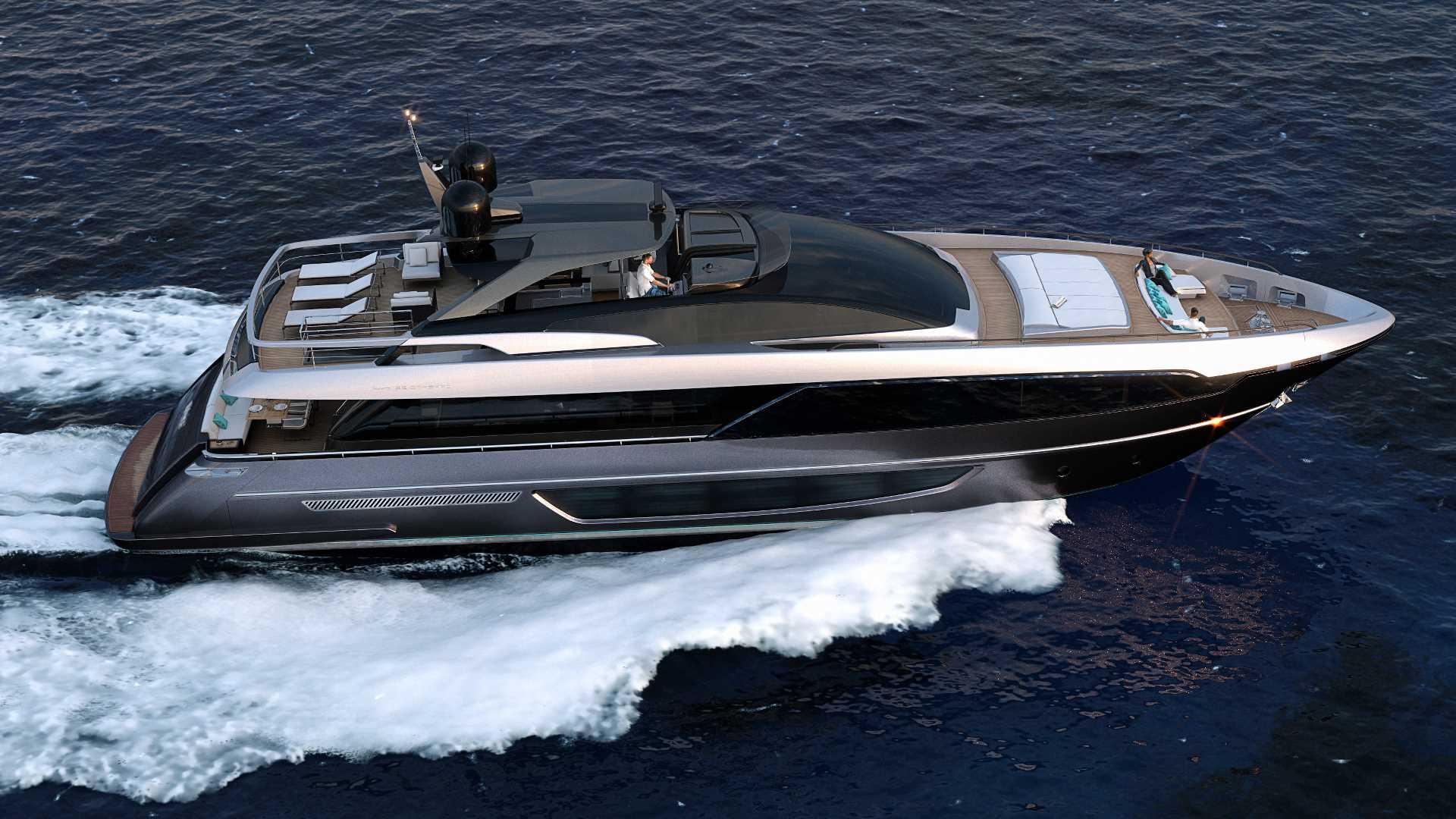 Riva 100' Corsaro: a new era for the Riva flybridge.  The maxi yacht is under construction at the La Spezia shipyard image